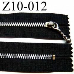 fermeture zip à glissière longueur 10 cm couleur noir non séparable largeur 2.6 cm glissière métal largeur du zip 4.5 mm