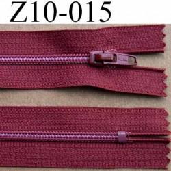 fermeture zip à glissière longueur 10 cm couleur bordeau rouge brique non séparable largeur 2.5 cm glissière nylon largeur 4 mm