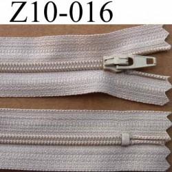 fermeture zip à glissière longueur 10 cm couleur beige non séparable largeur 2.5 cm glissière nylon largeur  4 mm
