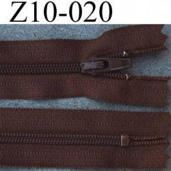 fermeture zip longueur 10 cm couleur marron non séparable largeur 2.5 cm glissière nylon largeur du zip 4 mm