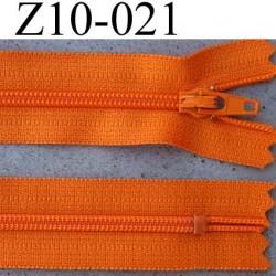 fermeture zip à glissière YKK longueur 10 cm couleur orange non séparable largeur 2.5 cm glissière nylon largeur du zip 4 mm