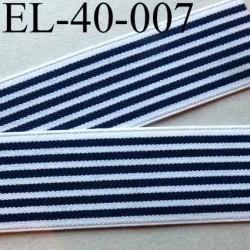 élastique plat très belle qualité superbe couleur blanc et bleu à rayures largeur 40 mm prix au mètre