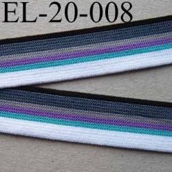 élastique plat souple belle qualité couleur blanc bleu violet gris clair et foncé et noir  largeur 20 mm prix au mètre