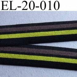 élastique plat souple belle qualité couleur noir marron et jaune  largeur 20 mm prix au mètre