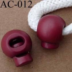 arrêt cordon stop cordon rond rouge bordeaux 18 mm vendu à l'unité