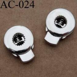arrêt cordon stop cordon métal rond plat couleur chromé 17 mm vendu à l'unité