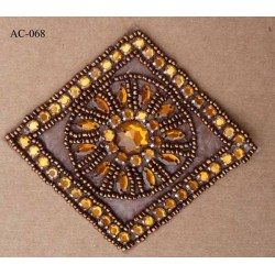 ornement applique écusson empiècement avec perles orange et marron  brillant à coudre