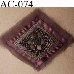 ornement applique écusson empiècement avec perles à coudre couleur mordoré
