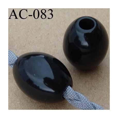 arrêt cordon perle rond noir brillant pour cordon de 5 mm de diamètre vendu à l'unité