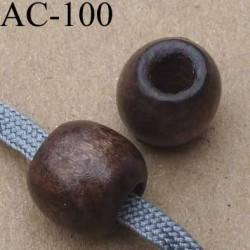 perle en bois verni diamètre 12 mm pour cordon de 5 mm de diamètre vendu à l'unité