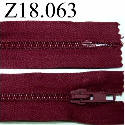 fermeture éclair 18 cm couleur bordeaux non séparable zip nylon