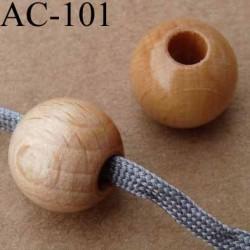 perle en bois naturel verni diamètre 14 mm pour cordon de 5 mm de diamètre vendu à l'unité