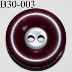 bouton 30 mm couleur bordeaux foncé brillant 2 trous épaisseur 6 mm