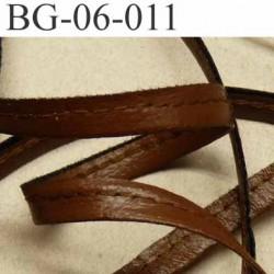 galon biais ruban lacette façon cuir recto verso superbe largeur 6 mm couleur marron souple  prix au au mètre