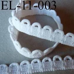 élastique  boutonnière picot dentelle plat largeur 11 mm couleur  blanc  très beau