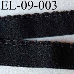 élastique picot  plat largeur 9 mm couleur noir  prix au mètre superbe très belle qualité