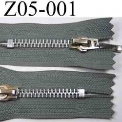 fermeture zip à glissière grise longueur 5 cm couleur gris non séparable zip métal   largeur 3 cm largeur du zip 6 mm