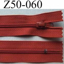 fermeture zip à glissière longueur 50 cm largeur 2.5 cm  couleur rouille non séparable zip nylon largeur 4 mm