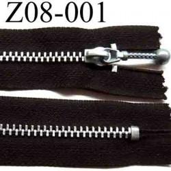 fermeture zip à glissière longueur 8 cm couleur marron foncé non séparable largeur 2.6 cm glissière métal largeur du zip 4.3 mm