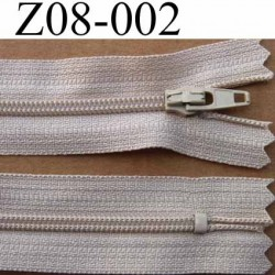 fermeture zip à glissière longueur 8 cm couleur beige non séparable largeur 2.5 cm glissière nylon largeur 4 mm