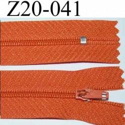 fermeture zip à glissière longueur 20 cm couleur orange largeur 2.5 cm zip nylon largeur 4 mm