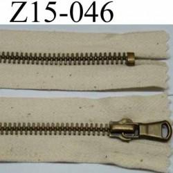 fermeture zip à glissière longueur 15 cm couleur écru largeur 2.5 cm zip métal