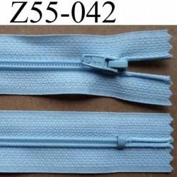 fermeture zip à glissière longueur 55 cm couleur bleu ciel non séparable largeur 2.5 cm glissière nylon largeur 4 mm