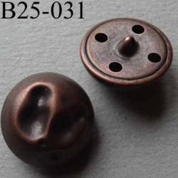 bouton fantaisie métal bosselé 25 mm couleur cuivre accroche un anneau diamètre 25 millimètres