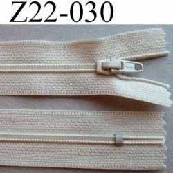 fermeture zip à glissière longueur 22 cm couleur beige crème non séparable zip nylon largeur 2.5 cm largeur glissière 4 mm