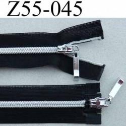 fermeture zip invisible longueur 55 cm couleur noir non séparable double curseur largeur 2.2 cm glissière nylon largeur 4 mm
