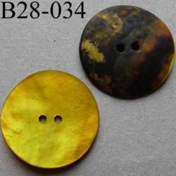 bouton diamètre 28 mm en nacre couleur jaune vif mat 2 trous diamètre 28 mm