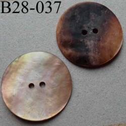bouton diamètre 28 mm en nacre couleur rose saumoné mat 2 trous diamètre 28 mm