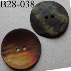 bouton diamètre 28 mm en nacre couleur mordoré mat 2 trous diamètre 28 mm