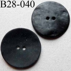 bouton diamètre 28 mm en nacre couleur noir mat 2 trous diamètre 28 mm
