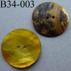 bouton diamètre 34 mm en nacre couleur jaune vif mat 2 trous diamètre 34 mm