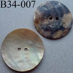 bouton diamètre 34 mm en nacre couleur naturel jaune beige mat 2 trous diamètre 34 mm
