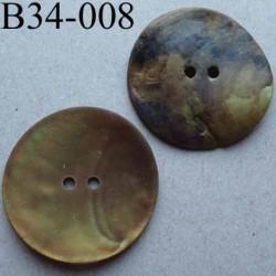 bouton diamètre 34 mm en nacre couleur mordoré mat 2 trous diamètre 34 mm