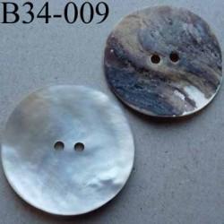 bouton diamètre 34 mm en nacre couleur naturel mat 2 trous diamètre 34 mm