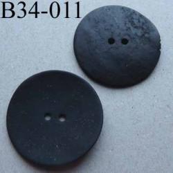 bouton diamètre 34 mm en nacre couleur noir mat 2 trous diamètre 34 mm
