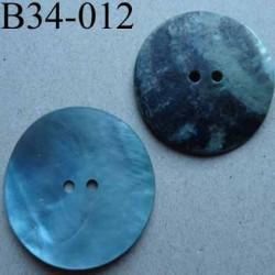 bouton diamètre 34 mm en nacre couleur bleu mat 2 trous diamètre 34 mm