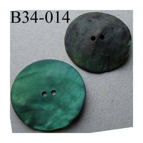 bouton diamètre 34 mm en nacre couleur vert foncé mat 2 trous diamètre 34 mm