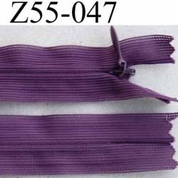 fermeture zip à glissière invisible longueur 55 cm couleur violet prune non séparable largeur 2.5 cm glissière nylon 4.2 mm