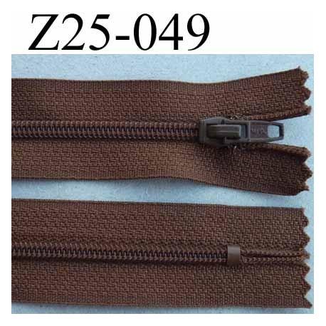 fermeture zip à glissière longueur 25 cm couleur marron non séparable largeur 2.5 cm glissière nylon largeur 4 mm