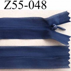 fermeture zip à glissière invisible longueur 55 cm couleur bleu non séparable largeur 2.3 cm glissière nylon largeur 4 mm