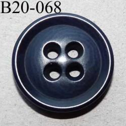 bouton 20 mm couleur bleu marine foncé 4 trous diamètre 20 mm