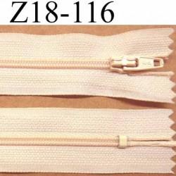 fermeture zip à glissière longueur 18 cm couleur beige crème  non séparable largeur 2.5 cm glissière nylon largeur du zip 4 mm