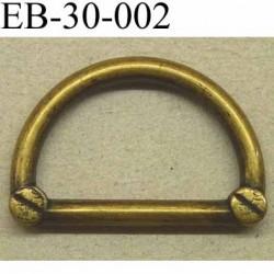 Boucle etrier anneau demi rond style ancien métal couleur laiton largeur extérieur 3 cm intérieur 2.3 cm hauteur 1.9 cm
