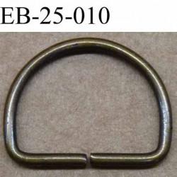 Boucle étrier demi rond en métal couleur bronze largeur extérieur 2.5 cm intérieur 2.1 cm iédal sangle de 2 cm hauteur 19.3 mm