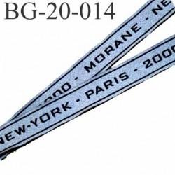 biais galon ruban  couleur gris à paillèttes brillant et liseret noir  largeur 20 mm prix au mètre PARIS NEW-YORK