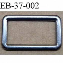 Boucle étrier rectangle  métal couleur acier chromé  largeur 3.7 cm et largeur intérieur 3 cm hauteur 2.2 cm épaisseur 2.5 mm